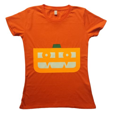 It's Halloween soon! Stand out with a Glow-in-the-Dark Pumpkin: Women's Slim Fit Jersey Tee - £20