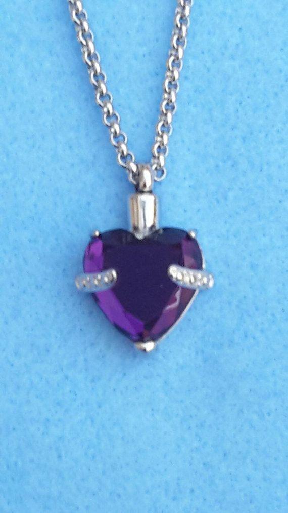 SALE - Purple Heart Urn Necklace - Urn Jewelry Keepsake Cremation Ashes Holder Pendant Vial Memorial Jewellery