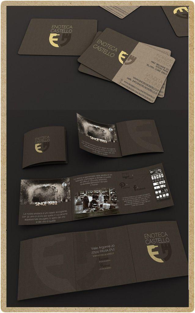 Studio del brand di Enoteca Castello Pavia. Rappresentazione 3d del brand (brochures e business card). Realizzato da P.Y.G. Italy