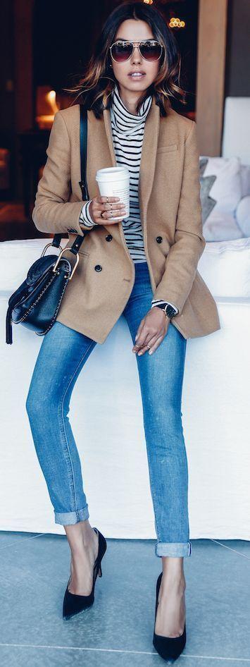 Classic camel pea coat, striped turtleneck, Parisian style
