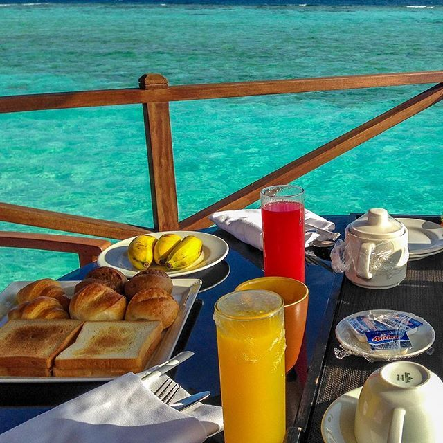 "📍Iru Fushi, Maldives Our ""good morning"". Breakfast with fruits surrounded by…"