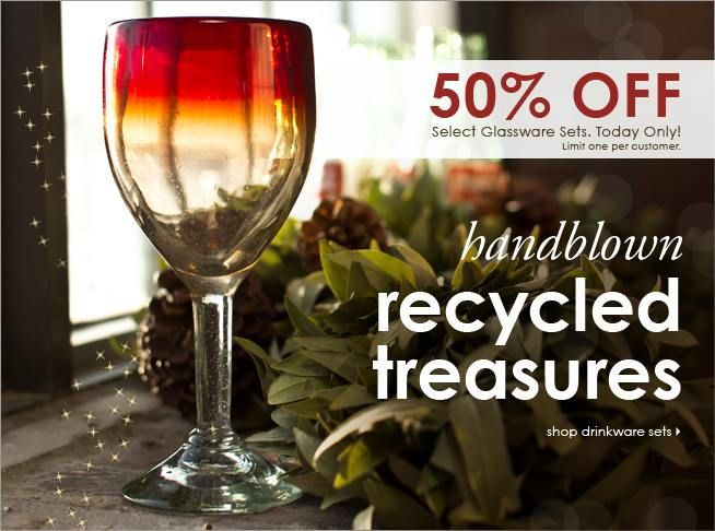 50% off select recycled glassware sets, Today Only! #cybermonday #sustainable #bambeco: Mondays Recycled, Shops Holidays, Holidays Gifts, Cyber Mondays, Cybermonday Sustainability, Holiday Gifts