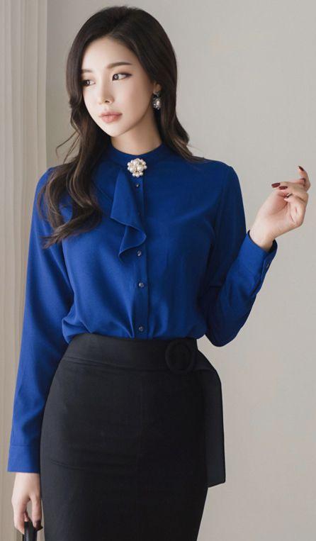 StyleOnme_Pearl Brooch Button-Up Blouse #blue #elegant #blouse #koreanfashion #kstyle #kfashion #seoul #autumnlook
