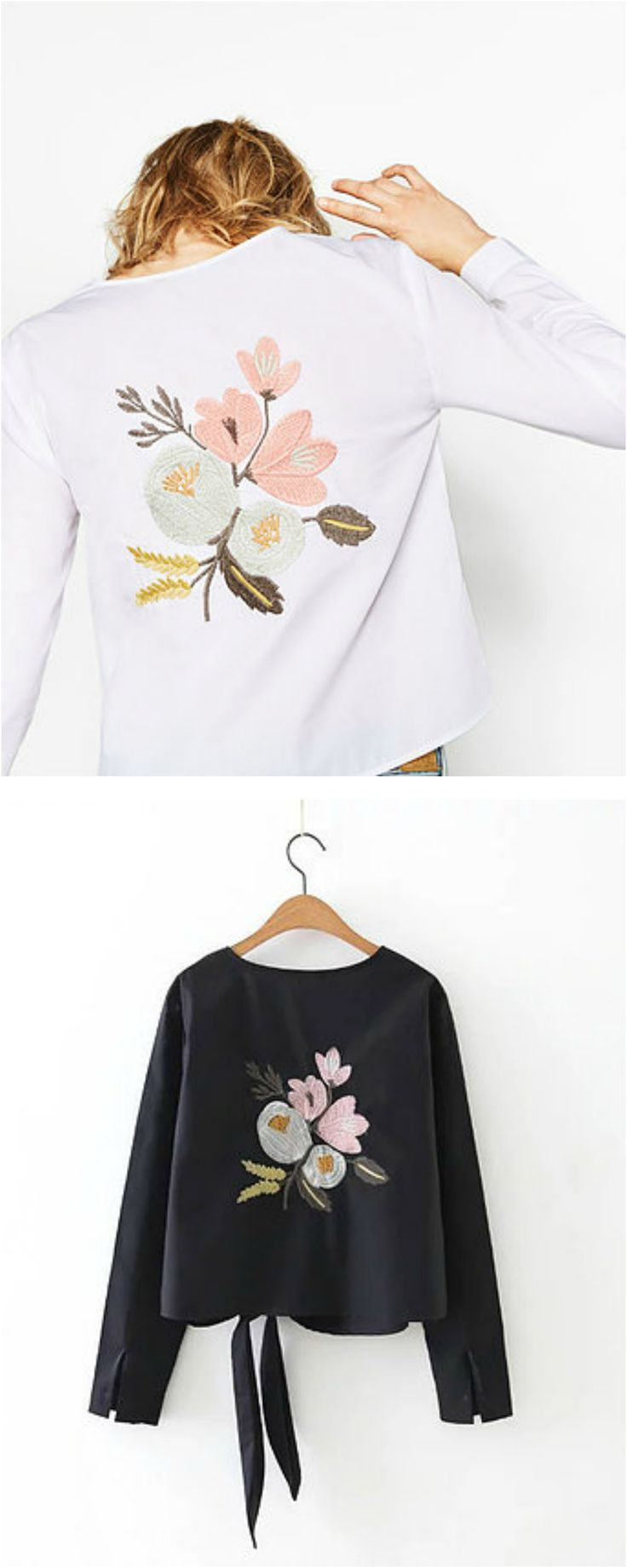 On Sale : $31 - A Boho Chic Long Sleeve Top with Embroidery from Pasaboho. This Boho top exhibit unique design with beautiful embroidered floral. Perfect for a casual day outfit.