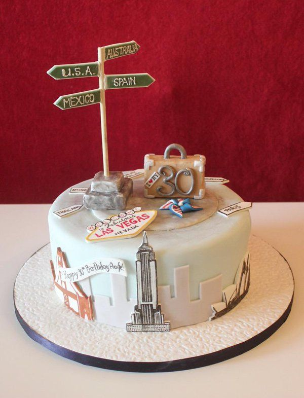 "Little Miss Muffin on Twitter: ""Travel themed 30th #birthday cake ... More"