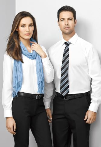 Biz Corporates - classic corporate white long sleeve shirt  and suiting pants combo