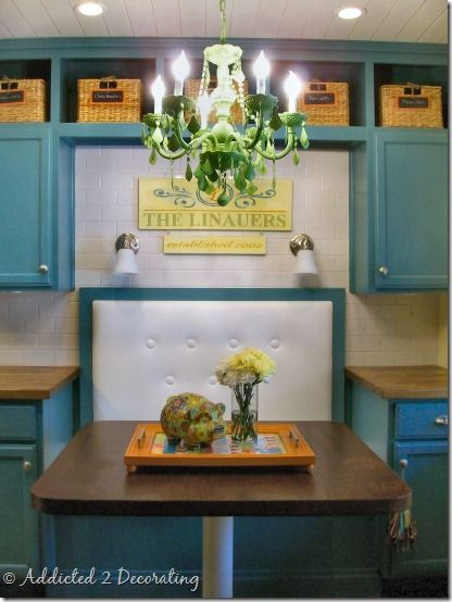 love this seating and teal kitchen!  Kitchen ideas  Pinterest