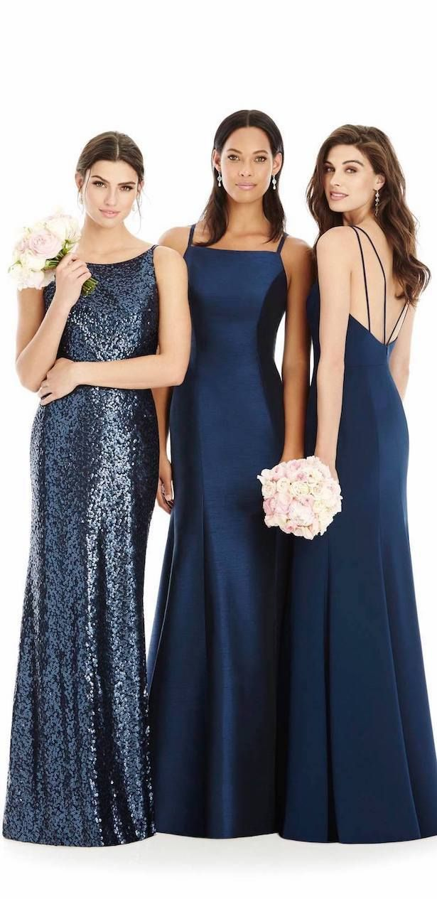 Popular Sleek and Sparkles Navy Mismatched Bridesmaid Dresses The Dessy Group