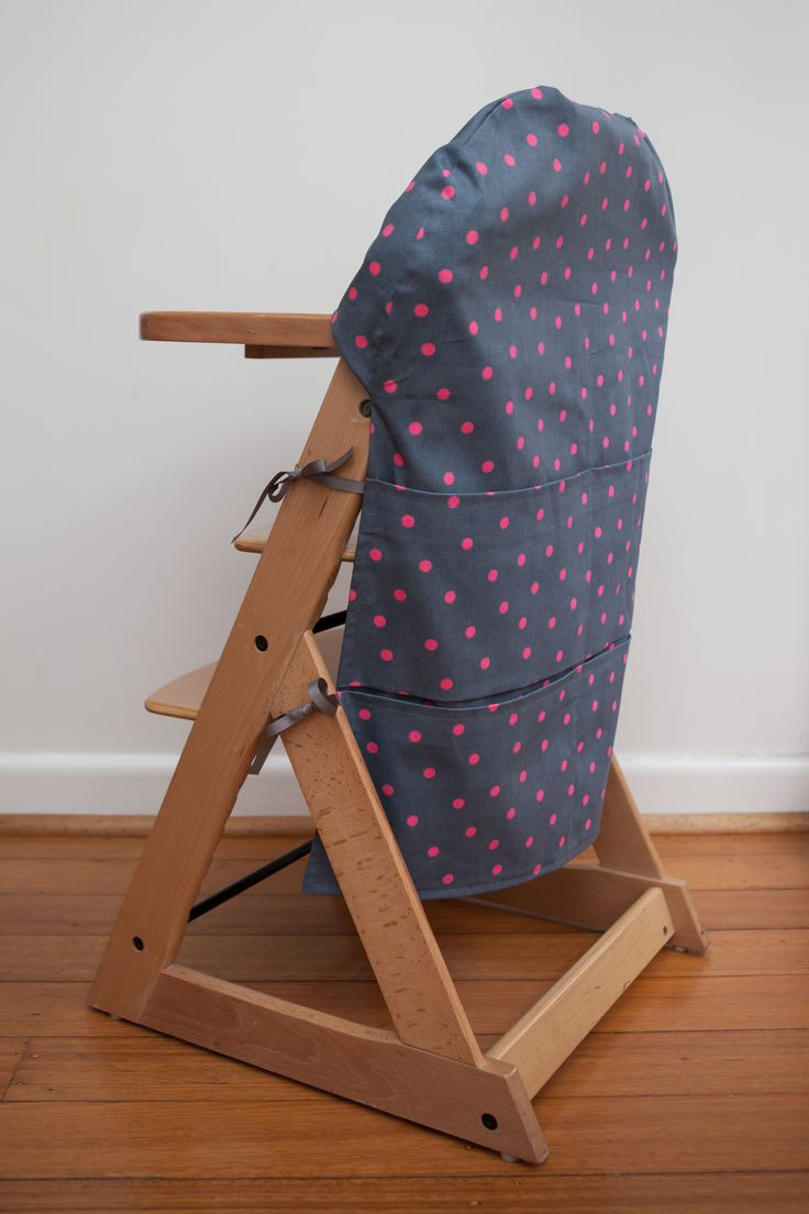 Large High Chair Caddy - Grey with Pink Spot