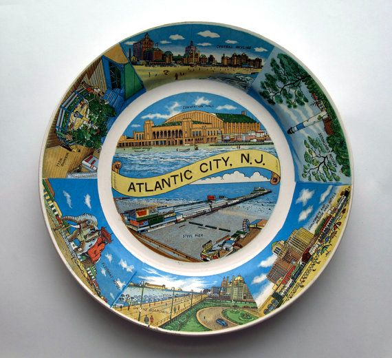 Atlantic City New Jersey Souvenir Plate by QuirkMuseum $9.95 & 111 best Vintage Plates images on Pinterest | Vintage dishes ...