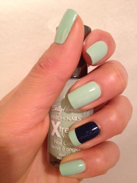 Mint Sorbet with Blue Splendor, nice accent nail.: Nails Art, Mint Green, Blue Splendor, Mint Nails, Accent Nails, Mint Sorbet, Nails Ideas, Nails Polish, French Tips
