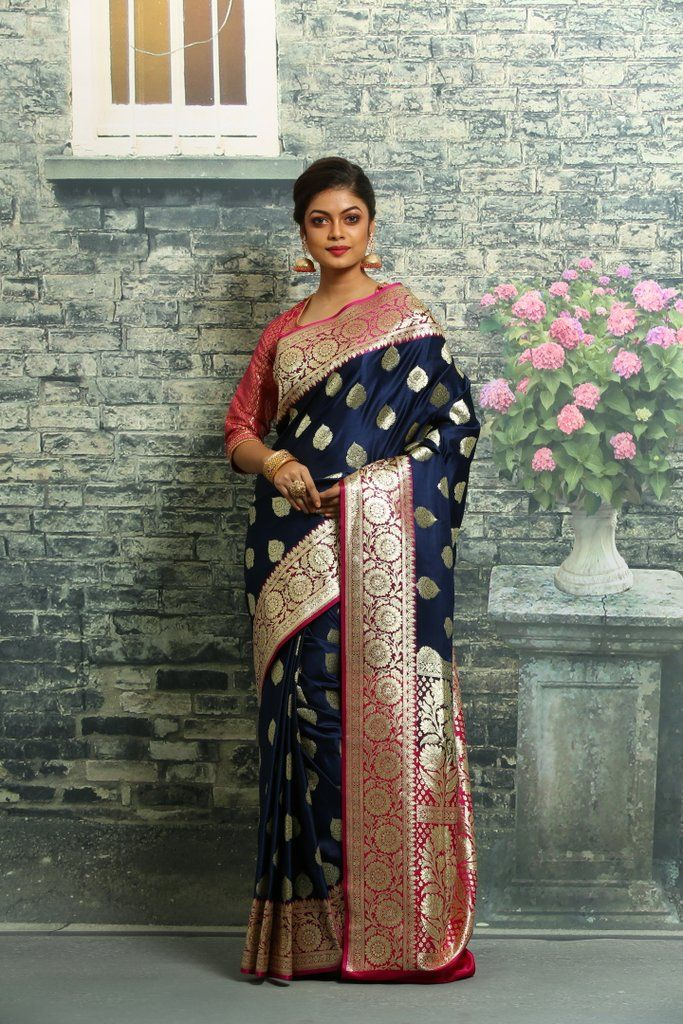 MIDNIGHT BLUE COLOUR KATAN SILK BENARASI SAREE | Keya Seth Exclusive | Saree, Designer blouse patterns, Midnight blue color
