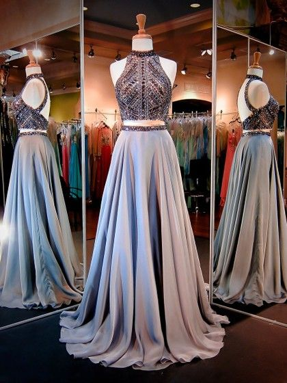 Stunning A-line High Neck Chiffon Beading Sweep Train Two Piece Open Back Prom Dresses #UKM020103591