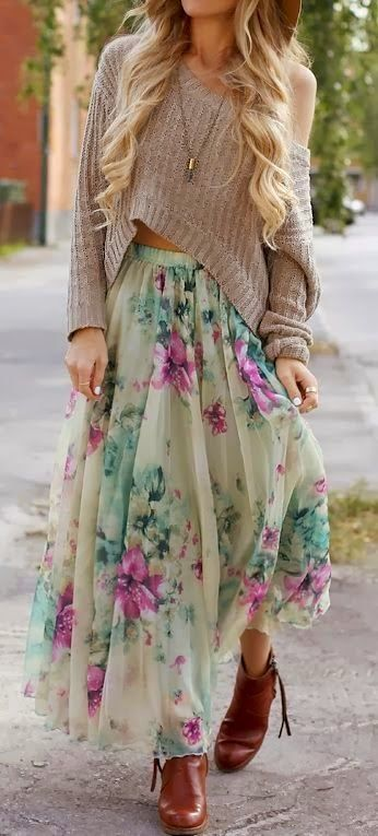 Love the skirt but the sweater is off the shoulder which I don't like I would put a shirt and jean jacket instead :)