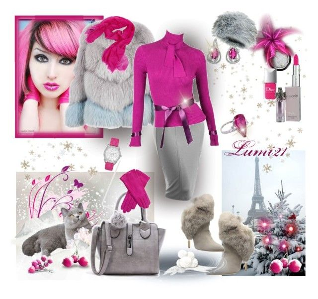 pink winter by lumi-21 on Polyvore featuring Karl Lagerfeld, Milusha, Schutz, BillyTheTree, Sofiacashmere, Givenchy, Giorgio Armani, Thierry Mugler and Christian Dior