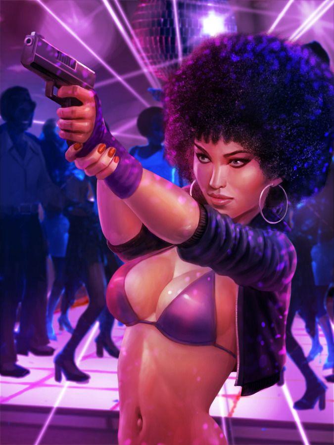70S Afro Girl By Atomhawk  Art  Black Women Art, Sexy -9515