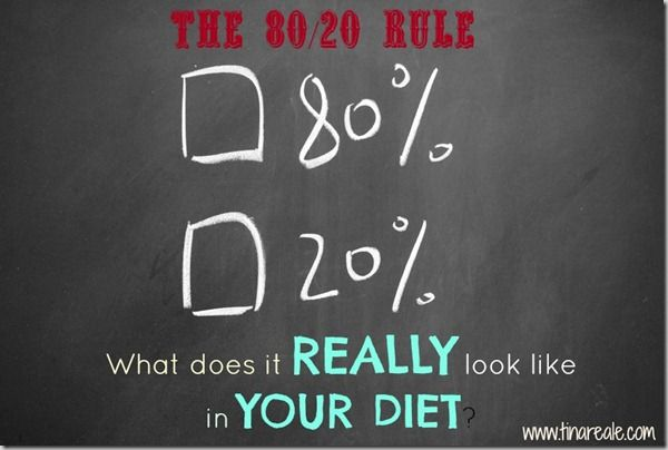 Great post on the 80/20 rule by Best Body Fitness (Tina Reale)