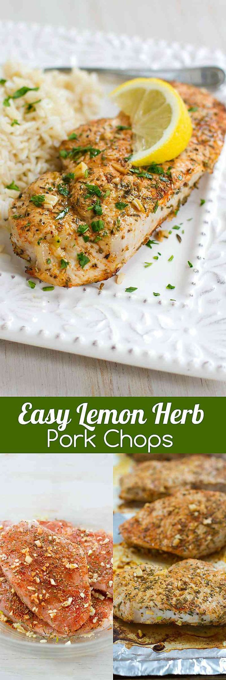 These Easy Herb Lemon Pork Chops will become a regular on your family's menu. Tender and absolutely delicious! 271 calories and 7 Weight Watchers SmartPoints
