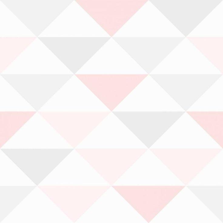 Papel de parede coleção geometria rosa, branco e cinza - PA7909