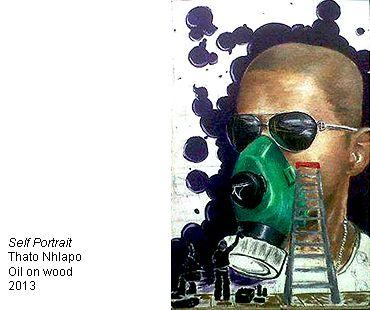 Thato Nhlapo, Self Portrait - oil on wood-- Bag Factory Artists' Studios - Johannesburg, South Africa
