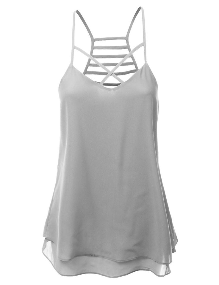 LE3NO Womens Lightweight Double Layered Chiffon Racerback Tank Top