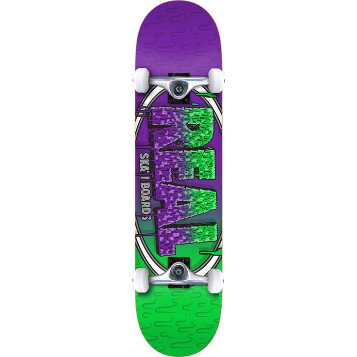 "Real Skateboards Slime Fade Large Green / Purple Complete Skateboard - 8"" x 31.8"". One (1) Real Skateboards Slime Fade Large Complete from Real Skateboards. Deck Size: 8"" x 31.8"". Factory assembled by Real Skateboards Skateboards and ready to skate. Includes trucks, wheels, bearings, hardware, and grip tape."