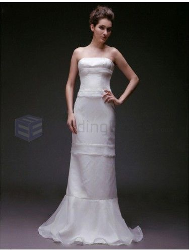 Trumpet Mermaid Strapless Chiffon Satin Floor-length Wedding Dress