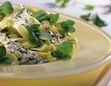 Rezept Grüne Nudeln mit Frischkäsesauce und Brunnenkresse, unser Rezept Grüne Nudeln mit Frischkäsesauce und Brunnenkresse - gofeminin.de