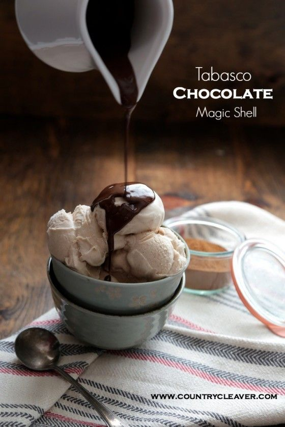 Tabasco Chocolate Magic Shell - LOVE it - spicy chocolate Magic Shell!  My husband loves Tabasco on EVERYTHING!  Now we've got a real winner!  I might use my Homemade Chocolate Chips to make this.