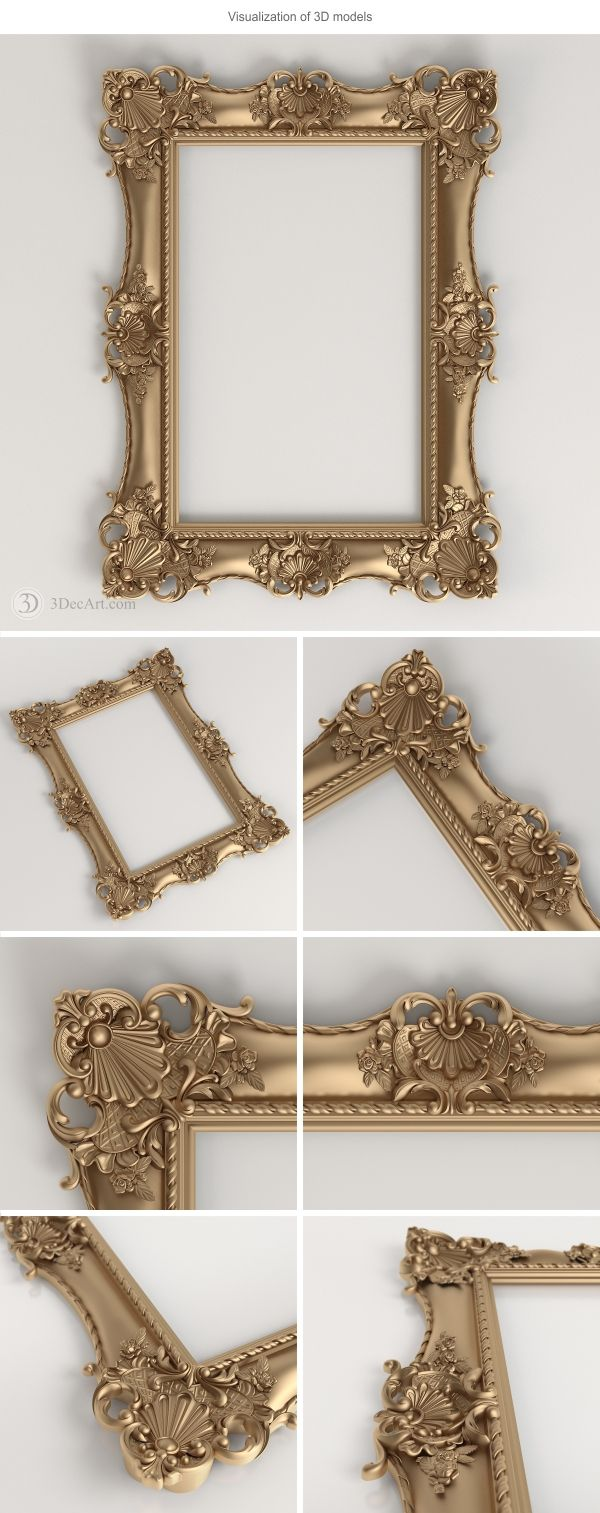 3D model of the carved frame for production on CNC and visualization of scenes. Original size of the 3D model: 600mm x 800mm x 49mm. Download 3D model can link: http://www.turbosquid.com/3d-models/decorative-frames-3d-max/884225?referral=3DecArt