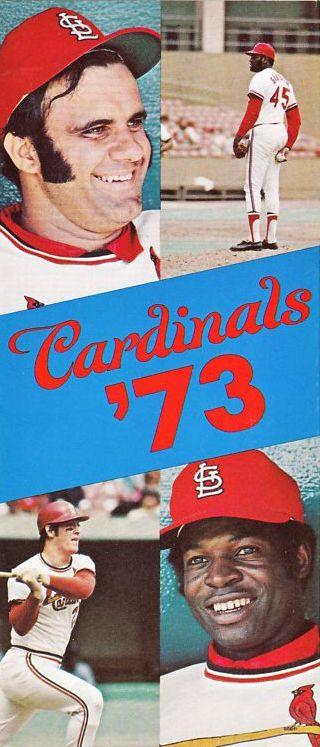 1973 Cardinals schedule. Torre, Gibson, Simmons, Brock.