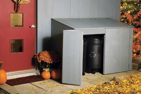 How to Build a Trash Shed Create an outdoor waste and recycling shed with flip-open lids and easy-access bifold doors