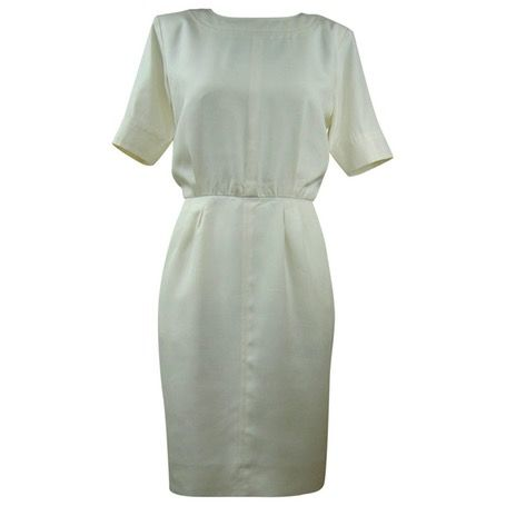 This Yves Saint Laurent classic cream silk dress is available now on Vestiare Collective