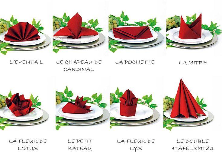 modèles pliages de serviette #napkinfold #serviette #decoration de table sur notre site: http://www.feezia.com/