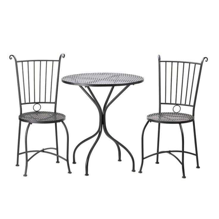 Outdoor Bistro Patio Set, Black, Patio Furniture (Metal)