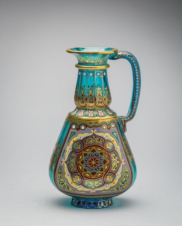 """Beautifully decorated Lobbyer enamelled and gilded glass flask, from the """"Acquamarin Series"""""""