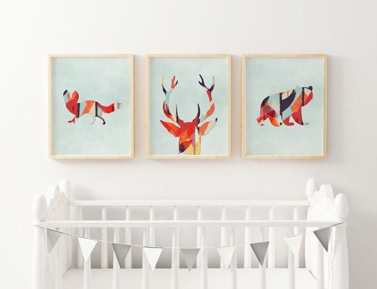 Woodlands Nursery Animal Set Of 3 Prints Woodlands Watercolor Aztec Wall Art