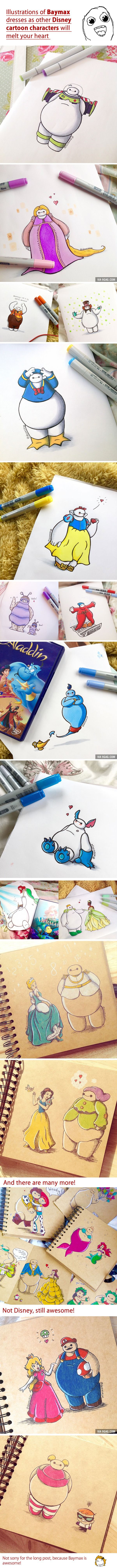 Illustrations of Baymax Dresses as other Disney Cartoon Characters will melt your heart.