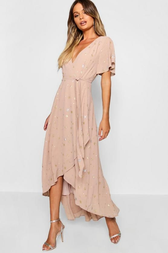 b1dd0dc06d51 Metallic Star Print Wrap Maxi Dress in 2019 | Fashion | Maxi wrap dress,  Dresses, Bridesmaid dresses