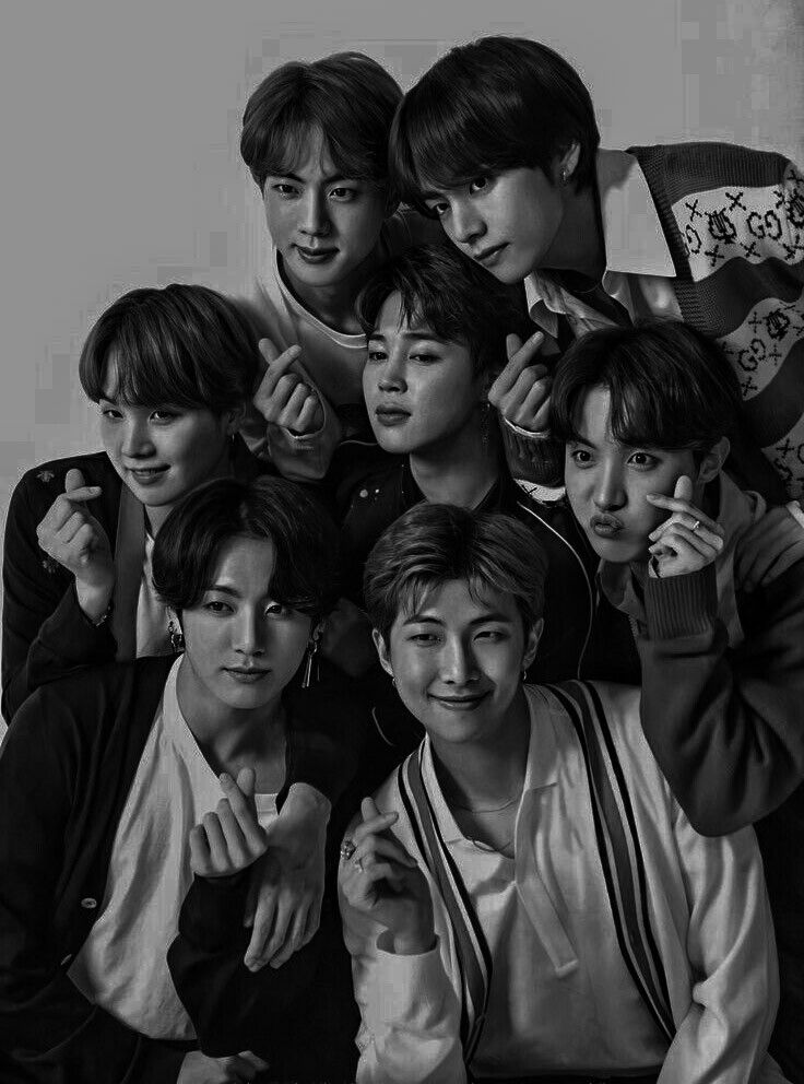 Pin On Bts Black and white bts wallpapers