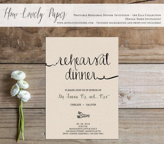 Printable Rehearsal Dinner Invitation - the Ella Collection