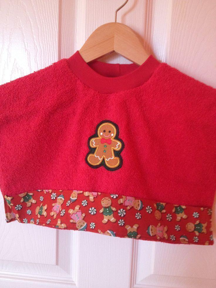 Red Christmas Dribble Bib Bibs Gingerbread Man Jumper Fabric Bandana