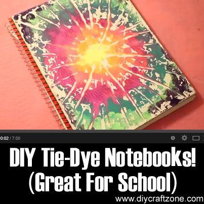 DIY Tie-Dye Notebooks! (Great For School) ►► http://www.diycraftzone.com/diy-tie-dye-notebooks-great-for-school/?i=p
