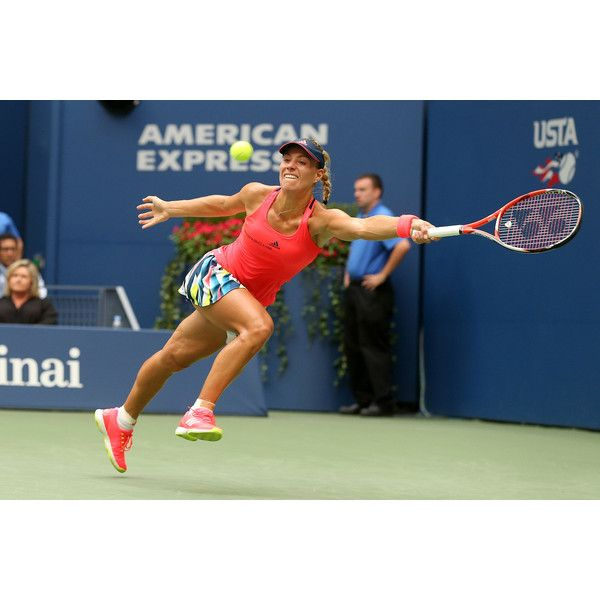 Angelique Kerber reaches for a forehand in the finals against Pliskova.