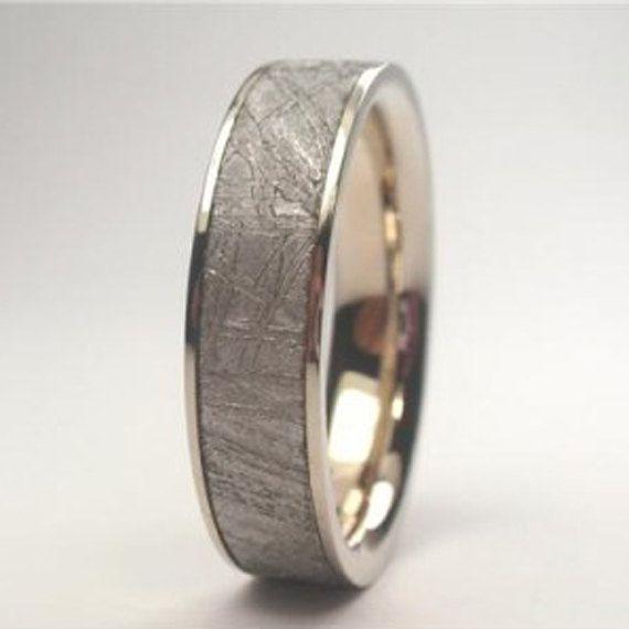 Awesome K White Gold Wedding Band Meteorite Ring by jewelrybyjohan