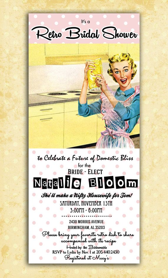 1950 retro housewife 50s bridal shower bachelorette wedding hens party invitation printable digital anything wa vintage flare pinterest bridal shower