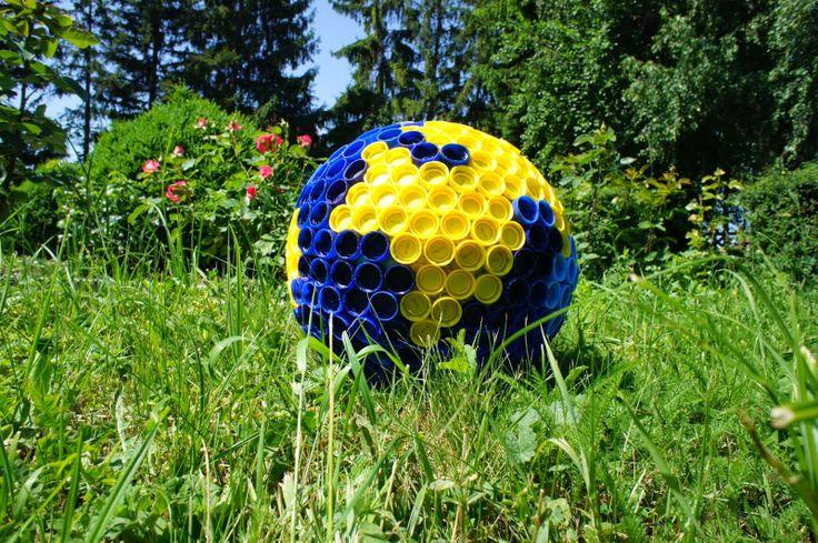 Earth Globe from Plastic Bottle Caps