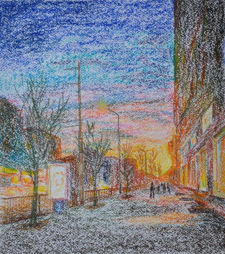 Василий Россин (Vasily Rossin), Осенний вечер в ТулеAutumn evening in Tula2016 г.Бумага, пастель Pastel, paper33 х 38