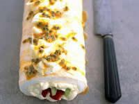 Pavlova Roll.  I love Pavlova!  Someday I want to try making it as a roll but I usually am lazy and just make it the traditional way.