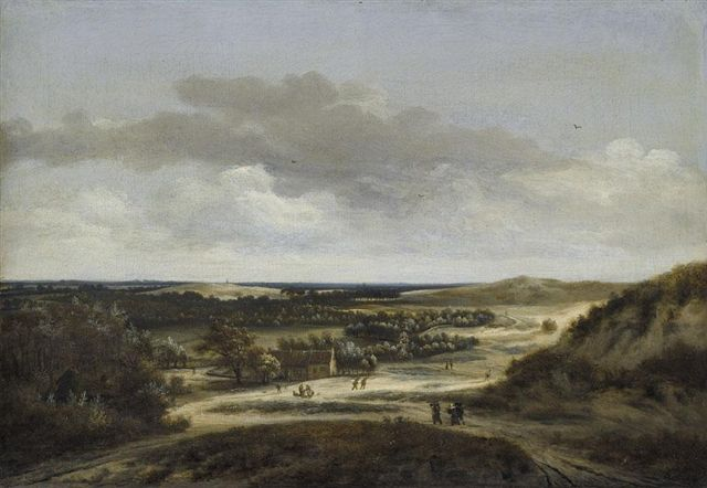 Jan_Vermeer_van_Haarlem_-_Extensive_dune_landscape_with_figures_near_cottages.jpg (640×442)